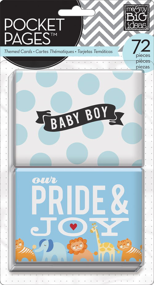 Baby Boy POCKET PAGES cards used on handmade card.  mambi blog.