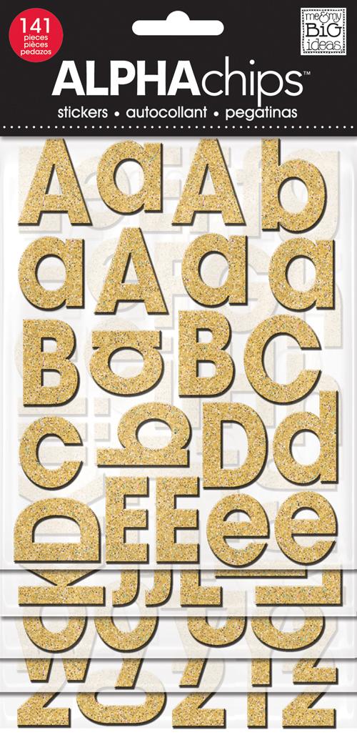 CBVP-63 Gold Glitter mambi Alphabets.  ALPHAchips.
