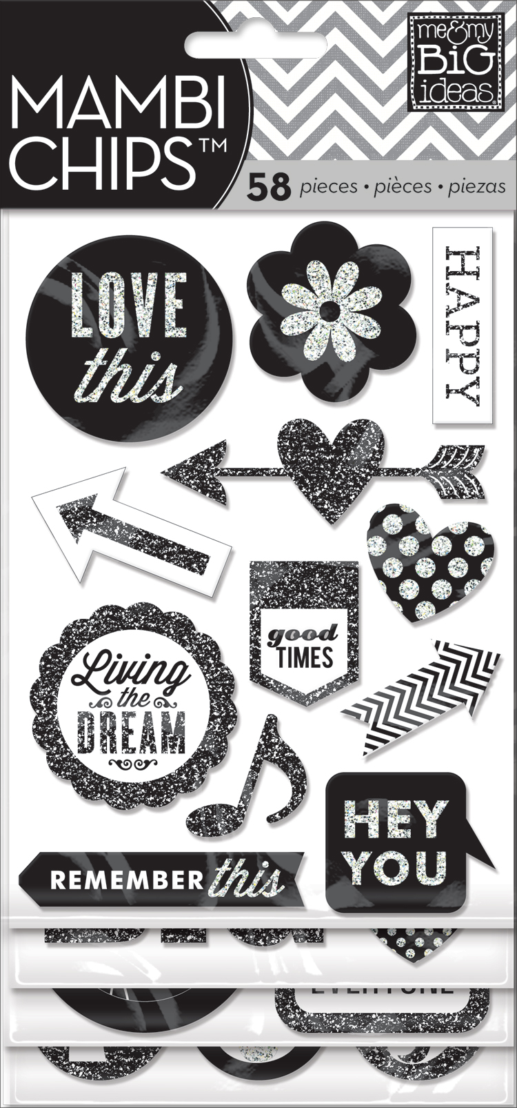 CBVX-18 Black & White glitter embellished chipboard stickers. Scrapbook mambiCHIPS.