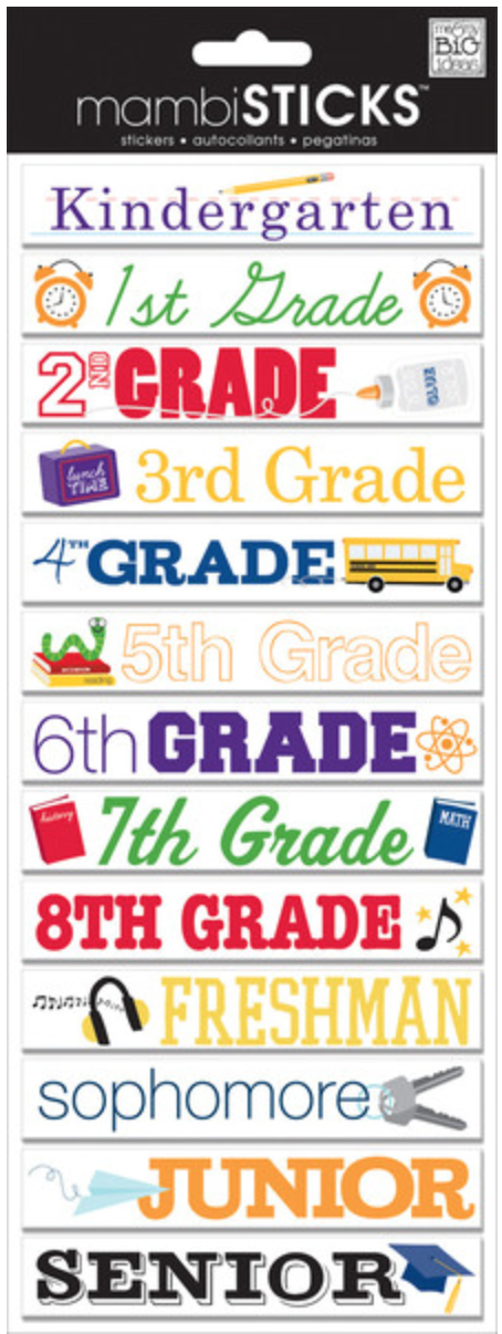 CBP-171 School Grades mambiSTICKS.  me & my BIG ideas chipboard embellishments.