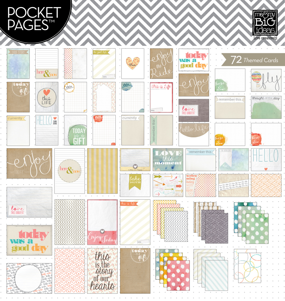 TPC-26 Here & Now POCKET PAGES cards for scrapbooking.