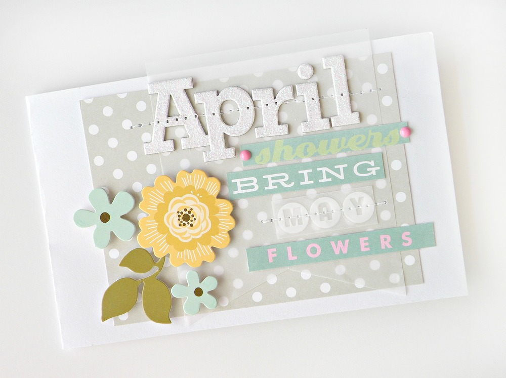 April handmade card using mambi embellishments.