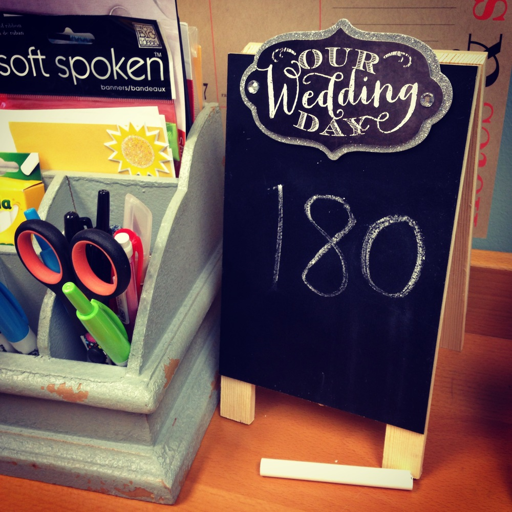 wedding countdown calendar with soft spoken & chalkboard.