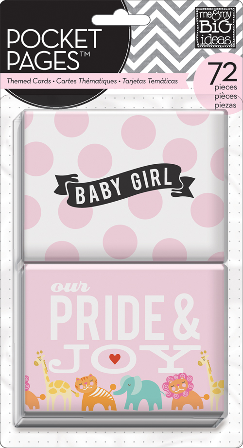 TPC-01 mambi:  Baby Girl POCKET PAGES Scrapbooking Project Life style cards that are 3D and glittered!