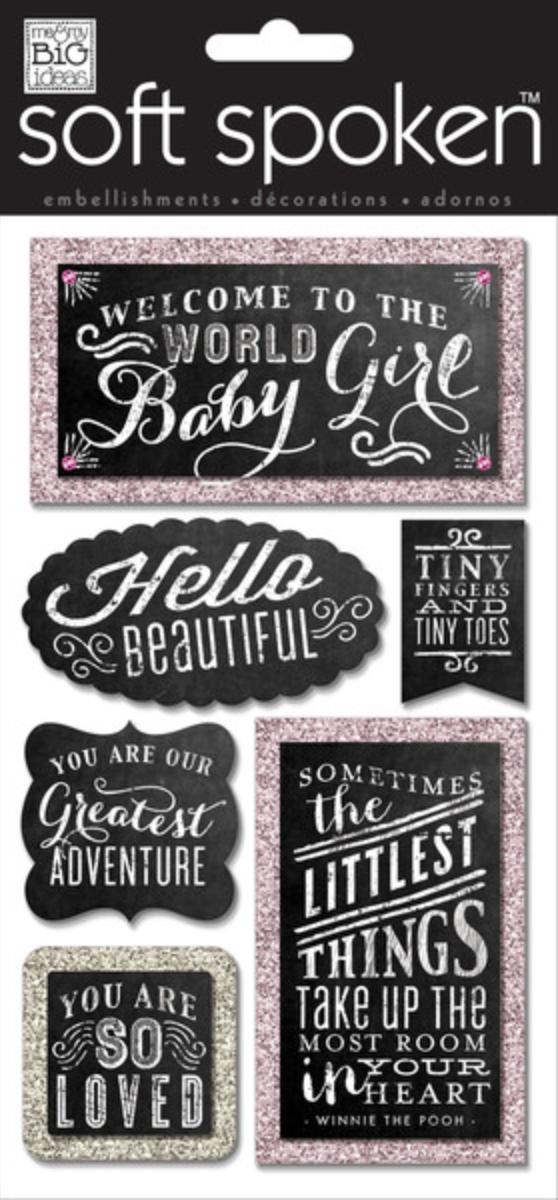 SSL-33 mambi:  Baby Girl Chalkboard Scrapbooking Embellishment