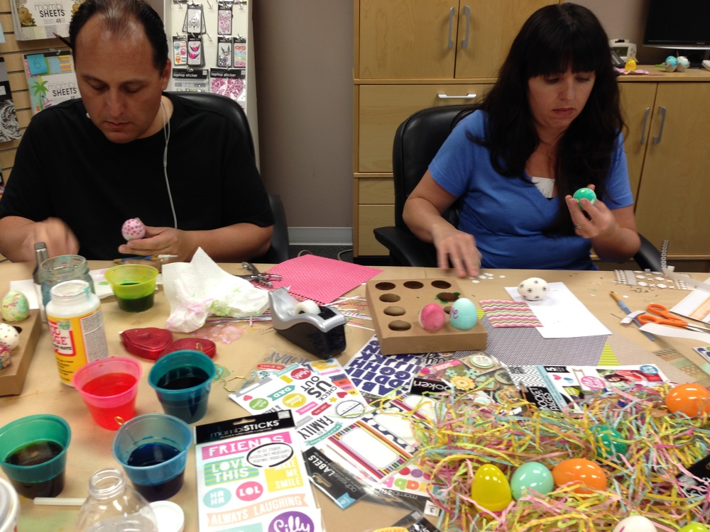 mambi:  Egg decorating day of fun with our me & my BIG ideas scrapbooking products.  Getting crafty!