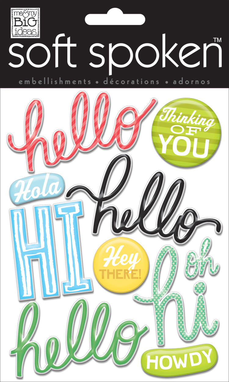 mambi:  SS-1478 Hello Hi Hola soft spoken scrapbook embellishment. jelly stickers.