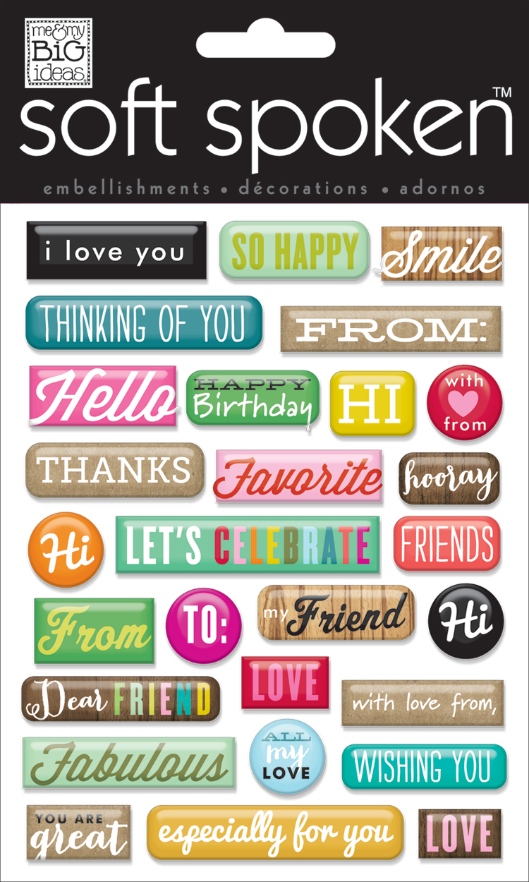 mambi:  SS-1479  Hello word pebbles soft spoken scrapbooking embellishments.