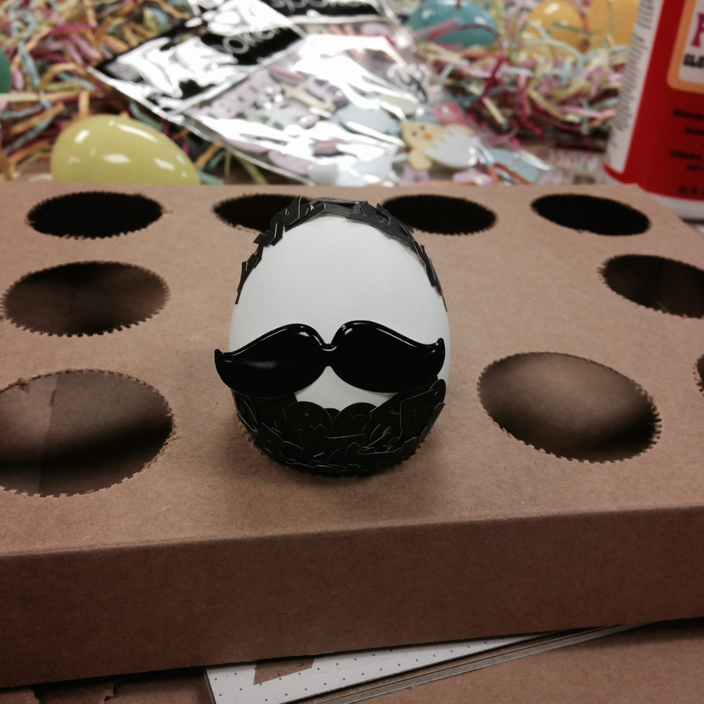 Mustache puffy stickers to decorate eggs!
