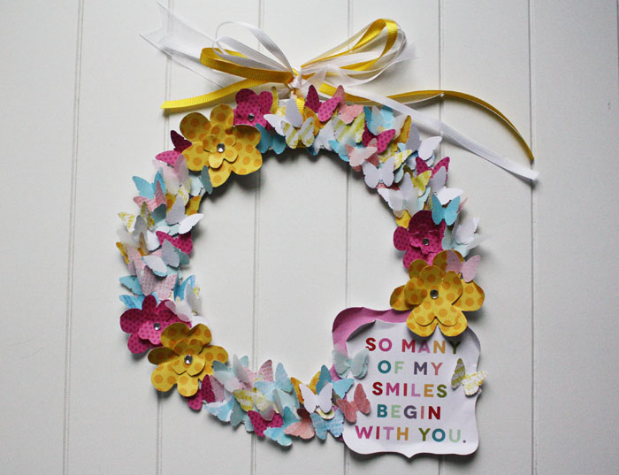 Mother's Day DIY paper wreath on the mambi blog.  me & my BIG ideas papers and CARDS in an INSTANT.