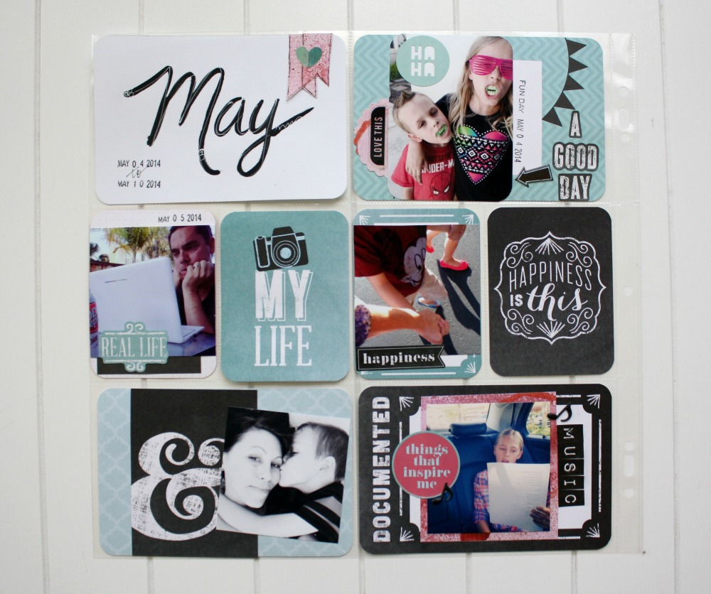 Real life - MAY scrapbook page on the mambi blog.  Project life, scrapbook layout ideas.