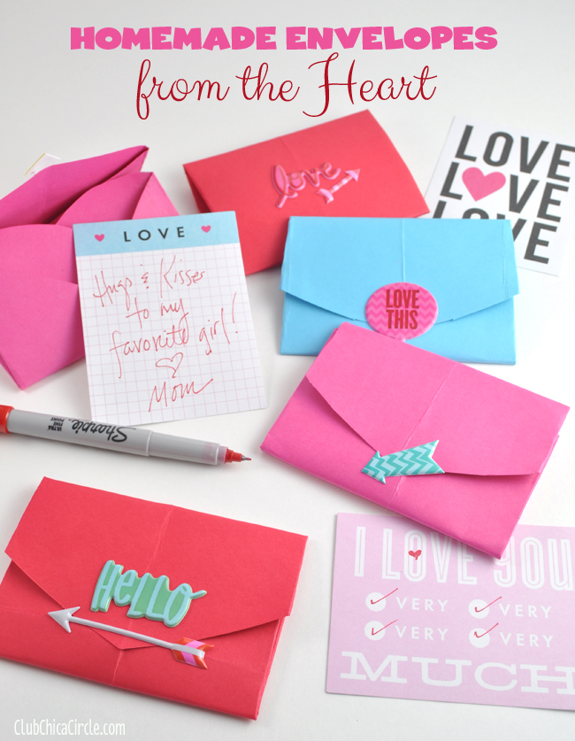 Homemade envelopes from the heart on the mambi blog with pocket pages and me & my BIG ideas puffy stickers.