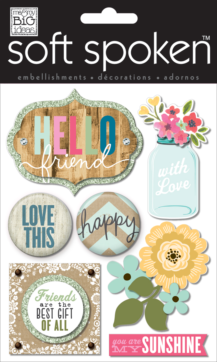 mambi:  Hello Friend soft spoken embellishments for handmade card.