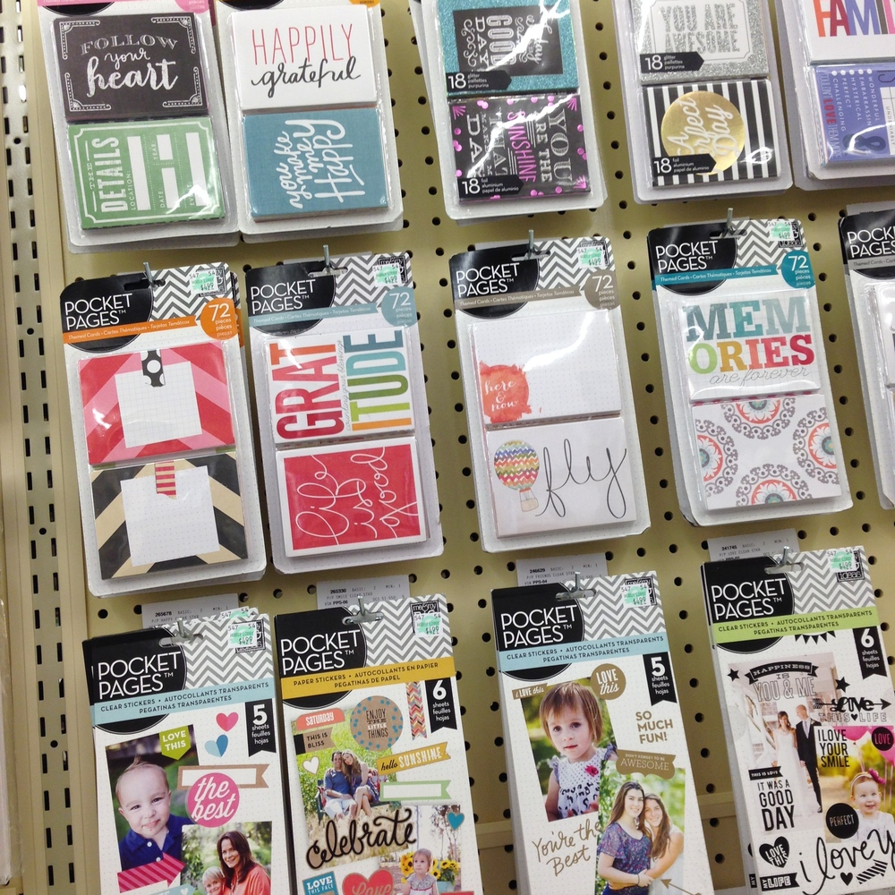 POCKET PAGES NEW at Hobby Lobby.  Scrapbooking and project life style scrapbooks.