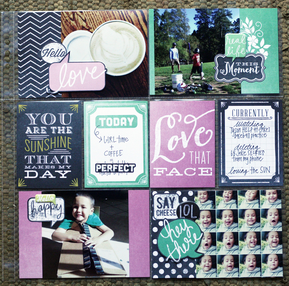 Chalkboard POCKET PAGES, project life style scrapbook page on the mambi blog.