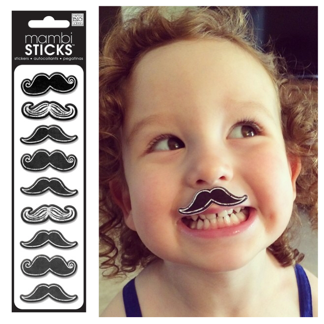 Puffy mustache chalkboard stickers, mambiSTICKS.