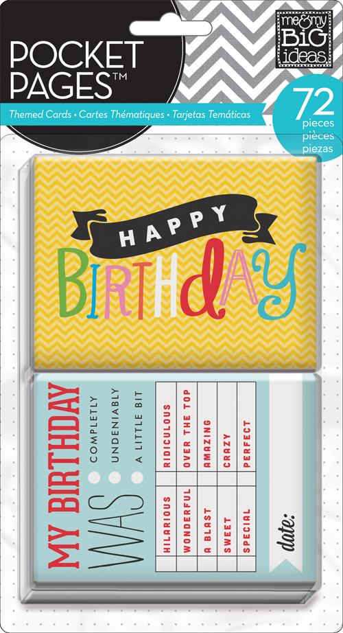 mambi POCKET PAGES birthday cards for scrapbooking, project life style scrapbooking and card making.
