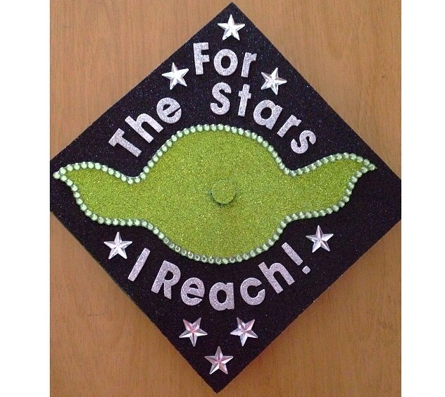 Silver Glitter Alphabets used to decorate YODA graduation cap.  I love it!  Star Wars combo with mambiSTICKS