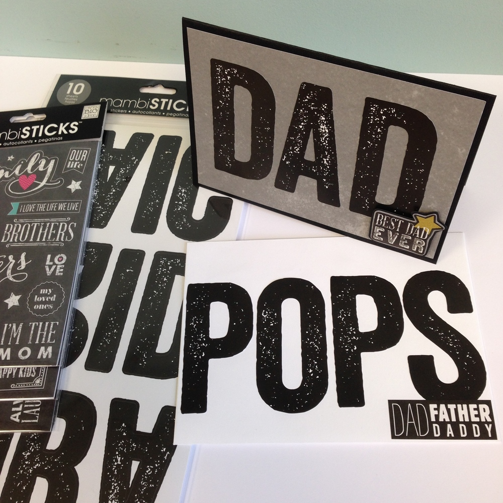 Father's Day card and envelope decorated with mambiSTICKS black large stickers. Cardmaking made easy!
