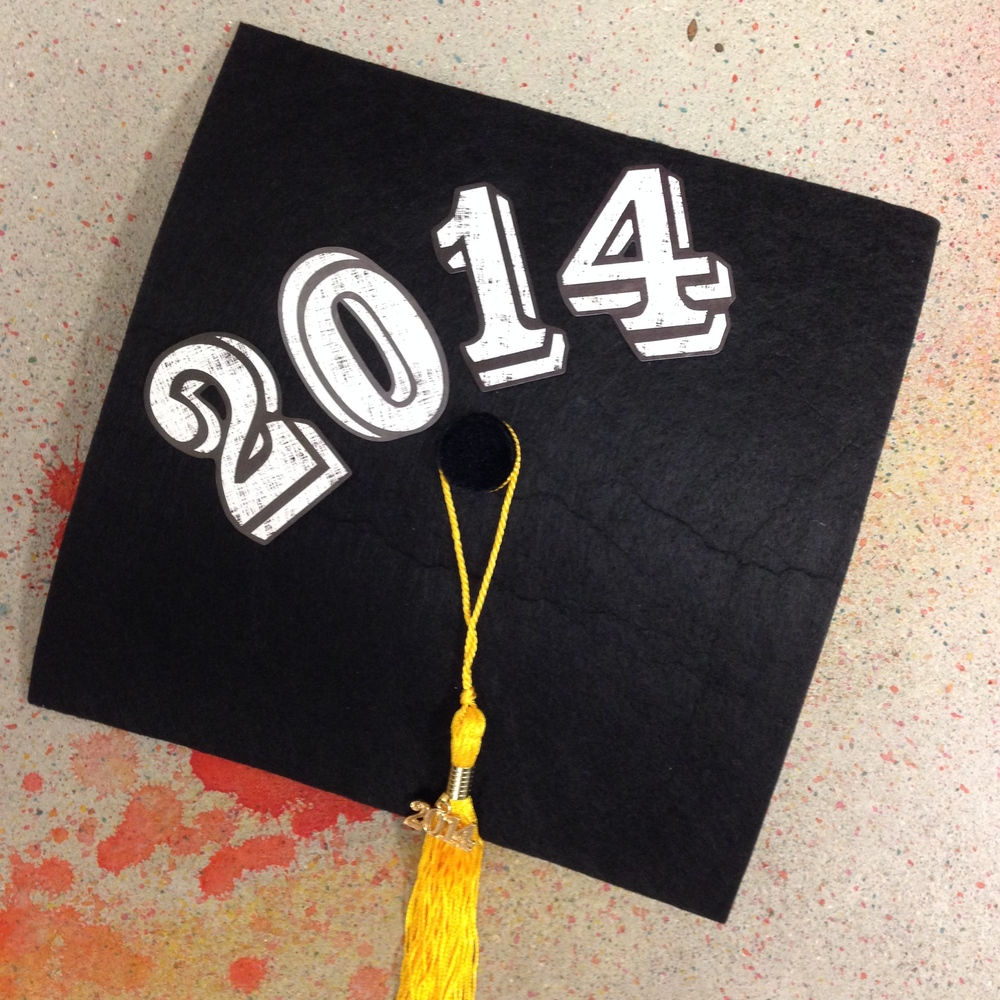 2014 Graduation Cap with mambiSTICKS alphabet and number stickers.