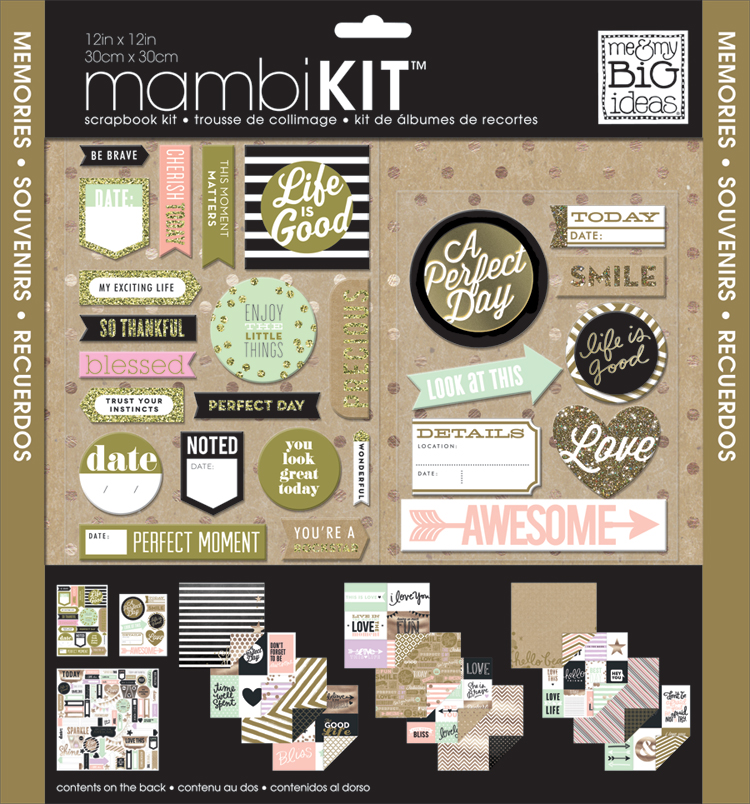 "12"" x 12"" Scrapbook Kit - Life Is Good gold glitter scrapbook mambiKIT."