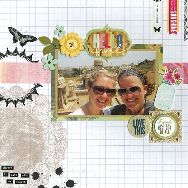Hello friend soft spoken embellishment used on mambi blog scrapbook page.  Mason jar sticker and hello with a vintage look.