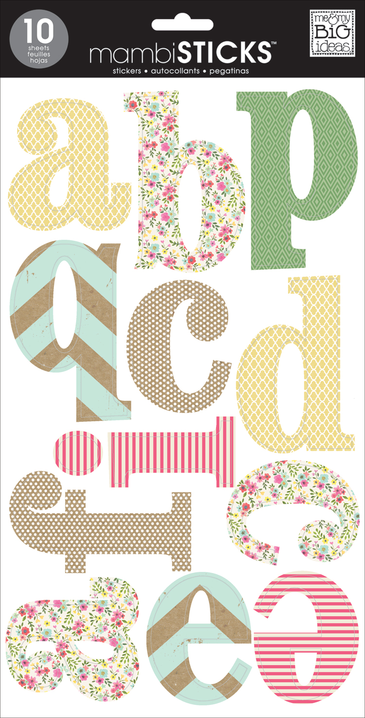 Sweet Patterns lowercase mambi alphabet stickers with a vintage shabby chic feel.  Jumbo stickers.