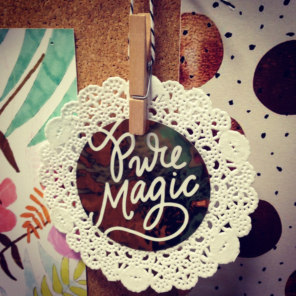 mambi sticker - Pure magic gold foil sticker with a doily.  Inspiration board.