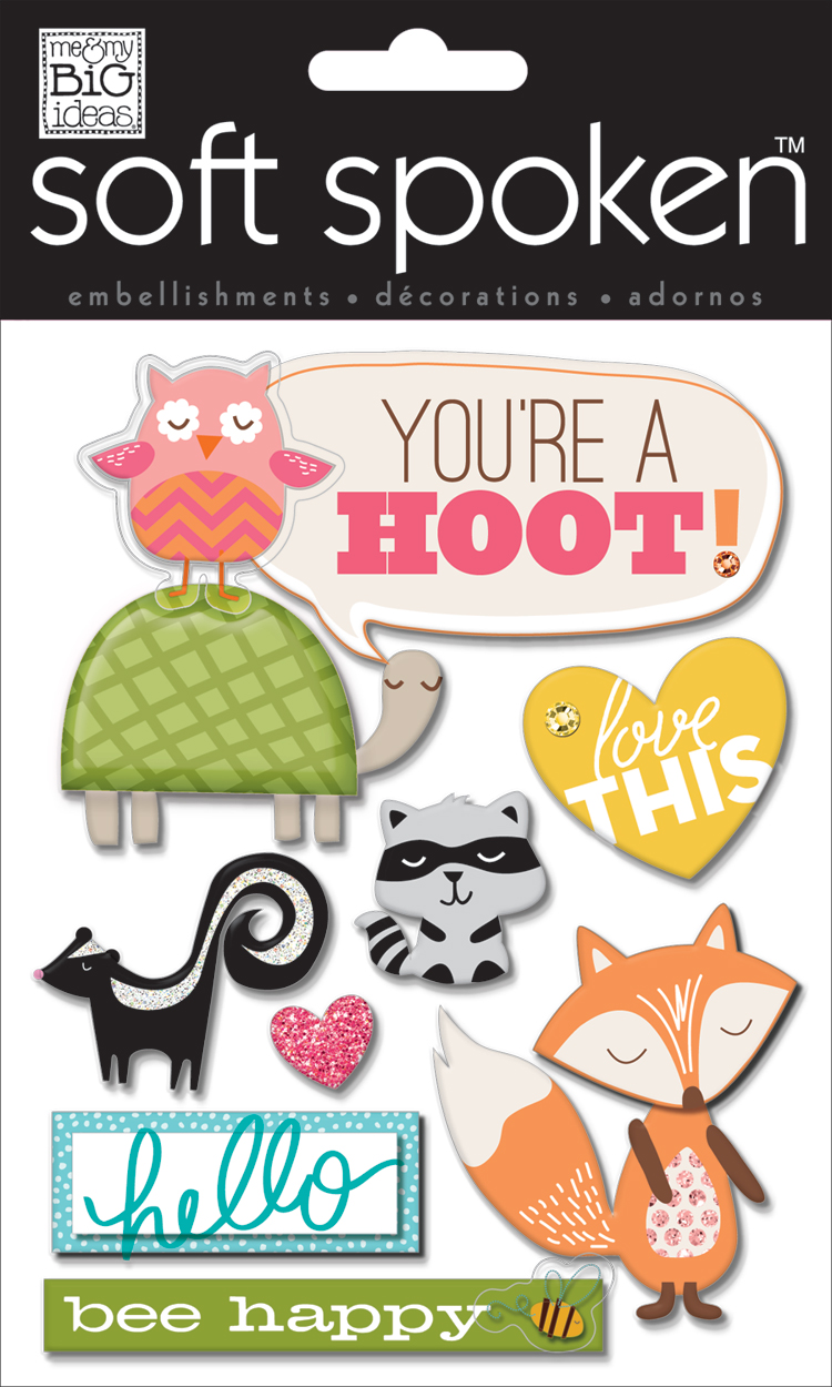 Your'e a Hoot soft spoken embellishment used on s scrapbook page.  CUTE-NESS!