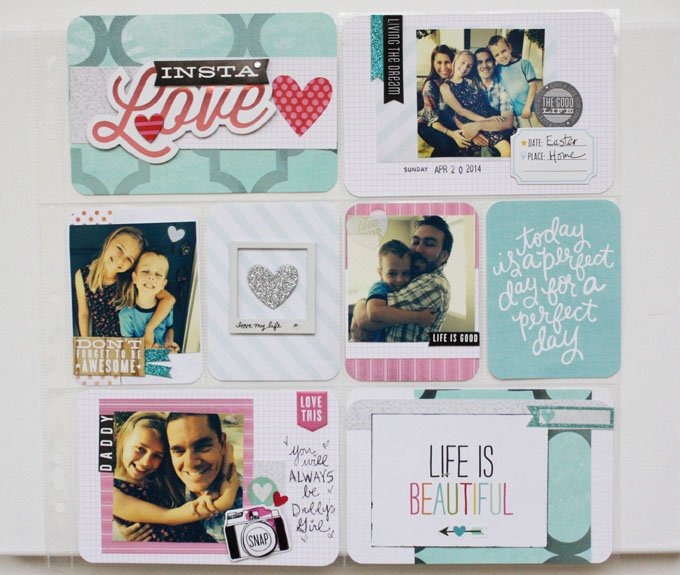 Insta-Love scrapbook pocket pages layout on the mambi blog.
