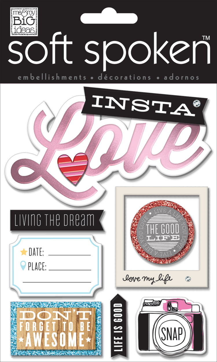 INSTA-LOVE soft spoken embellishment.  Instagram scrapbooking stickers!