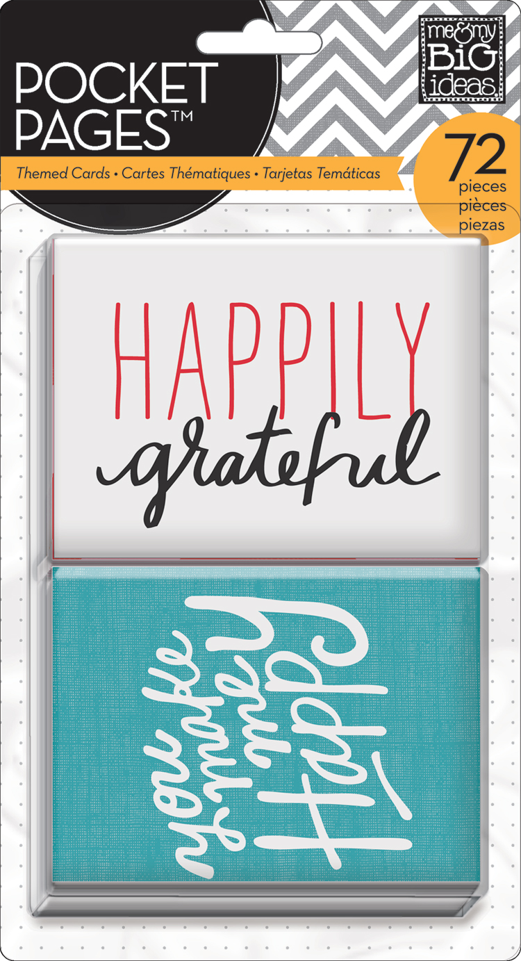 POCKET PAGES happily grateful fun scrapbooking card pack.