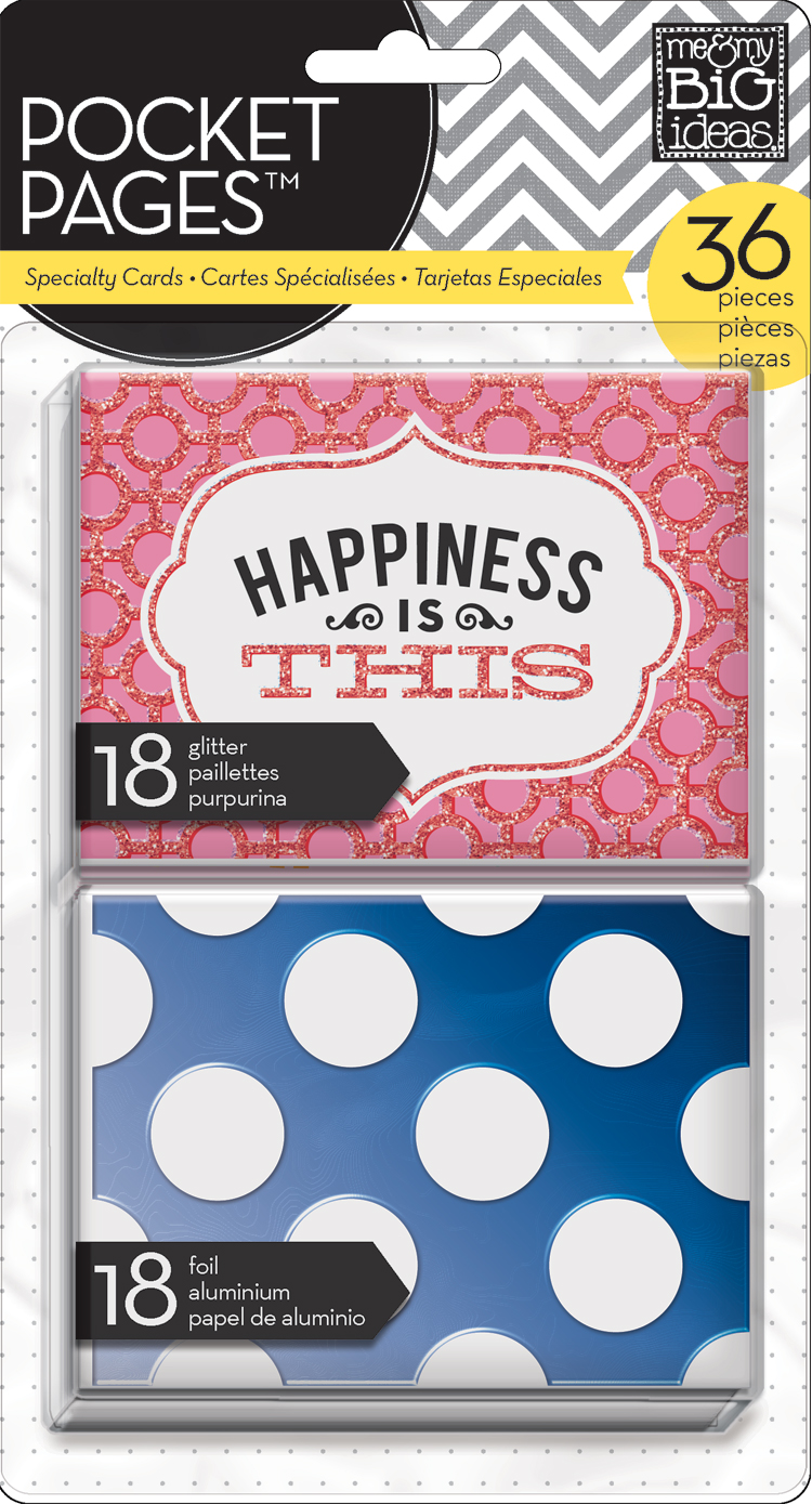 mambi POCKET PAGES cards:  happiness is this foil, glitter embellished project life style cards.