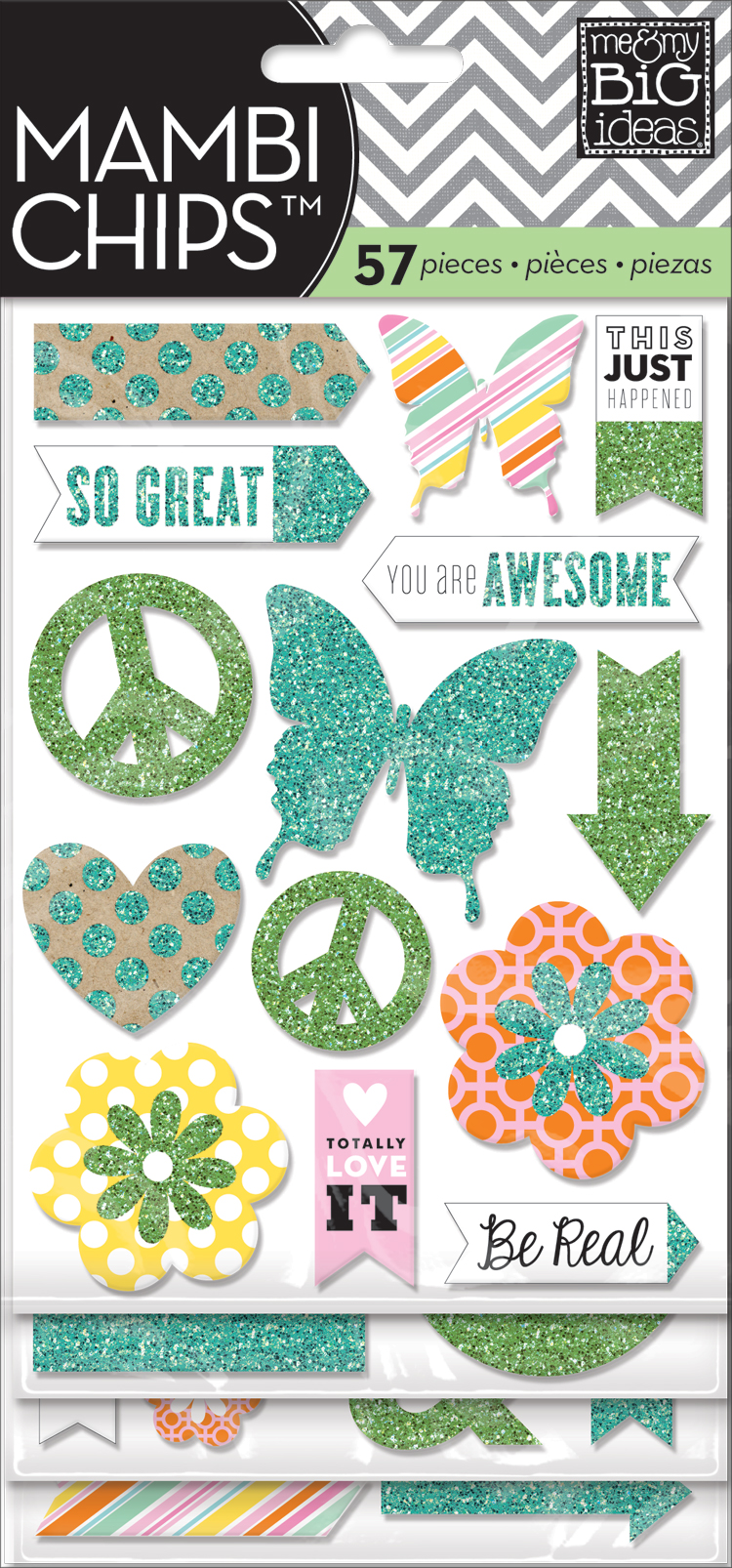 mambiCHIPS: teal & green glitter chipboard scrapbooking embellishments.