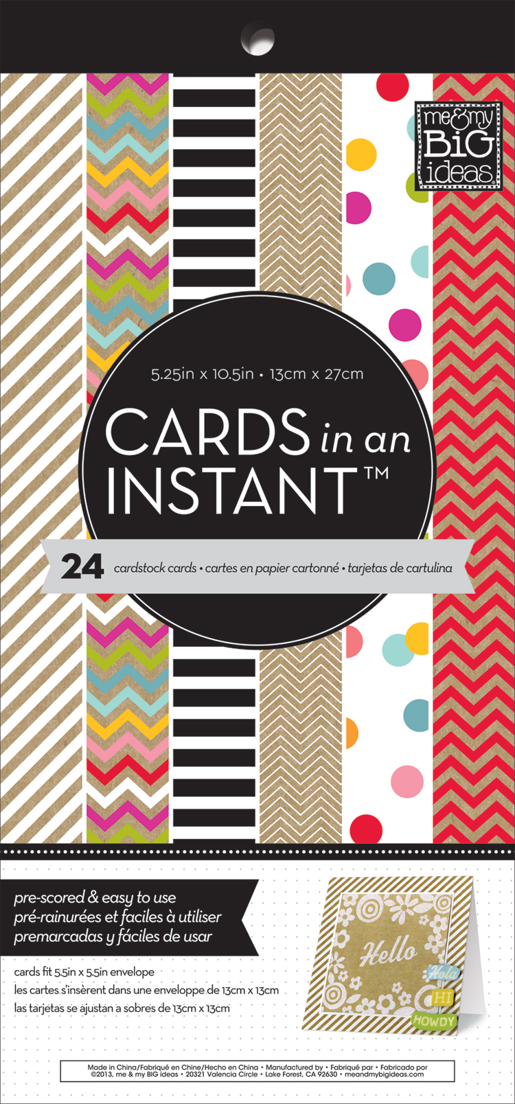 CARDS in an INSTANT mambi pre-cut, pre-scored square cards.