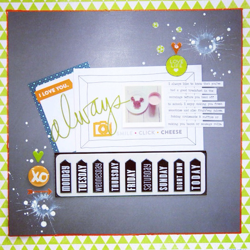 Scrapbook Page using mambiSTICKS - puffy days of the week stickers.