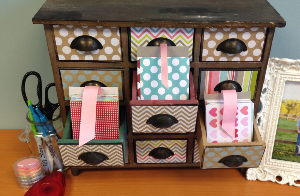 POCKET PAGES storage or just a cute way to DIY a wooden drawer set.