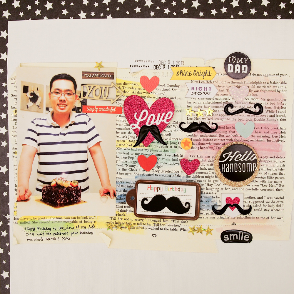 Birthday Mustache Page on the mambi blog