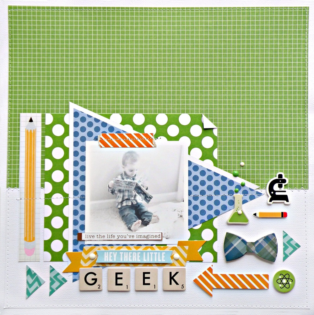 My little geek scrapbook page on the mambi blog.  A cute boy layout.
