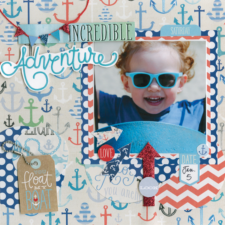 Ahoy scrapbook 8x8 page on the mambi blog.