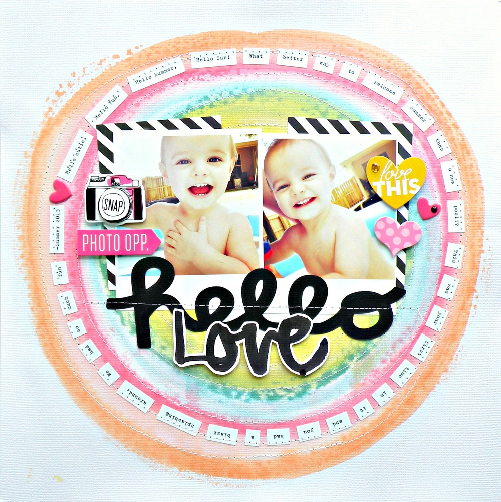 mambi blog:  Hello Love scrapbook page