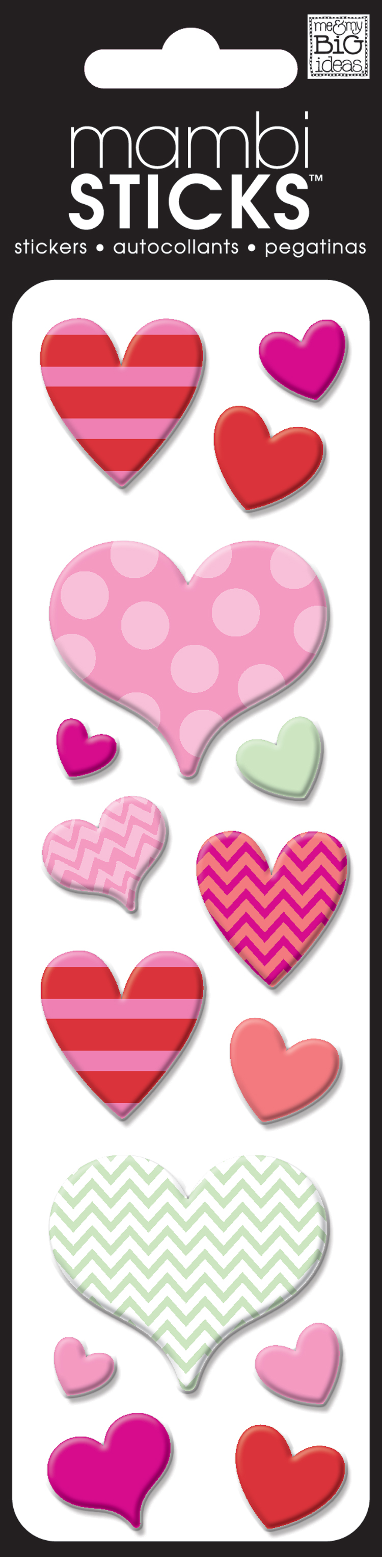 mambiSTICKS: pufft multi colored heart stickers.
