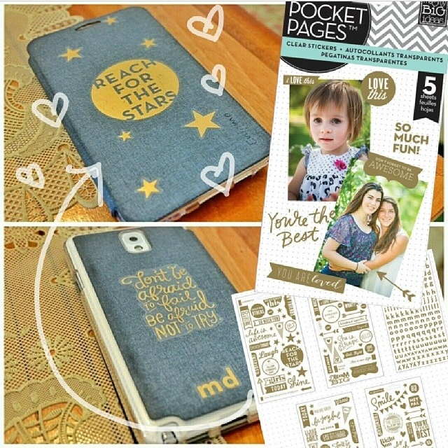 DIY phone case decorations with mambi POCKET PAGES gold foil stickers.