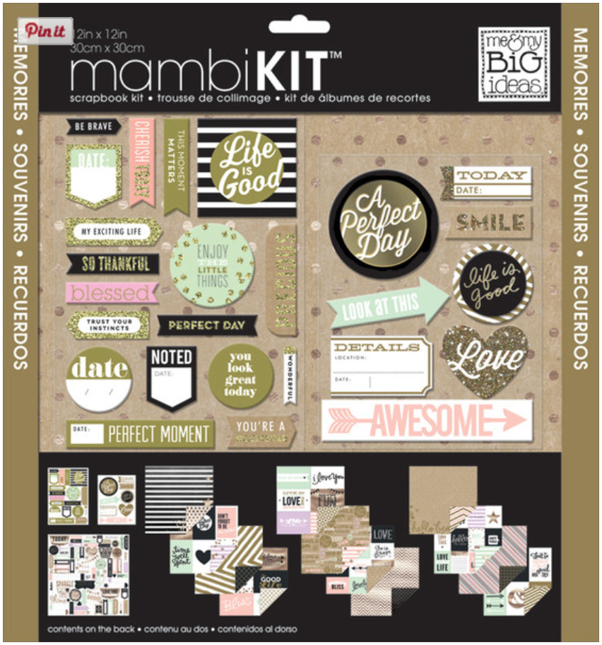 mambiKIT gold glitter love scrapbooking kit.