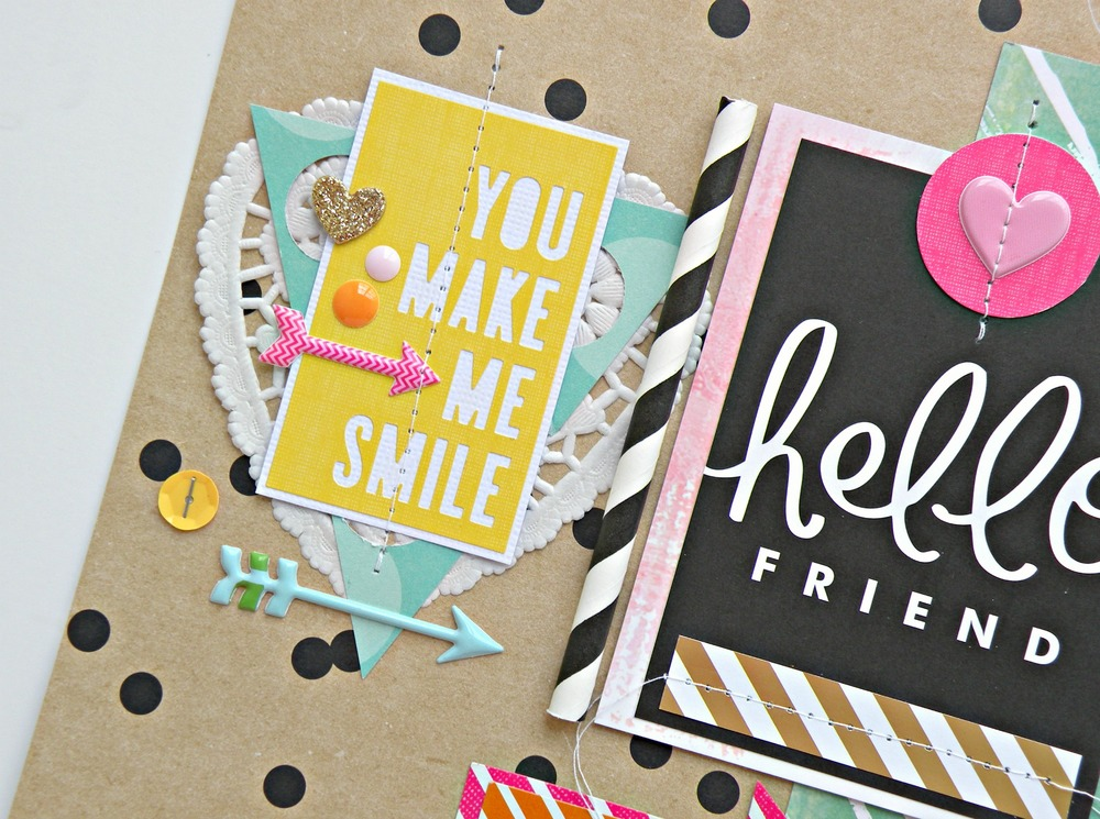 Scrapbook Page - Hello Friend by mambi DT member Stephanie Buice | me & my BIG ideas