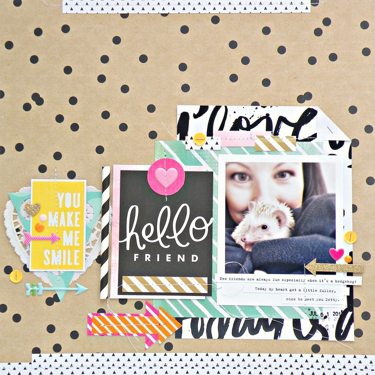 'Hello Friend' Scrapbook Page by Stephanie Buice