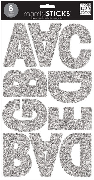 giant Silver Glitter letters mambiSTICKS   me & my BIG ideas