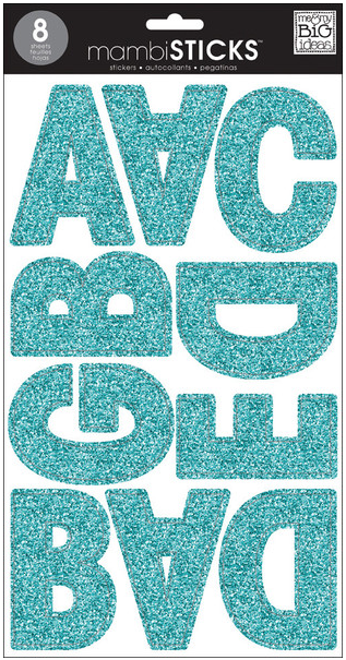 giant Teal Glitter letters mambiSTICKS   me & my BIG ideas