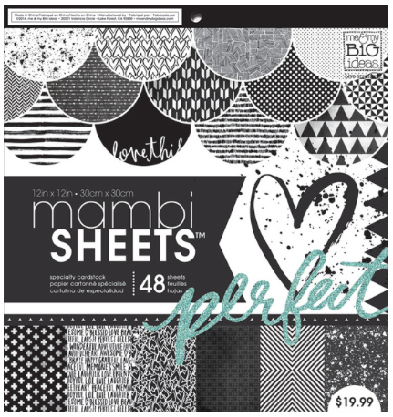 Black & White Trendy Graphic mambiSHEETS 12x12 paper pad | me & my BIG ideas
