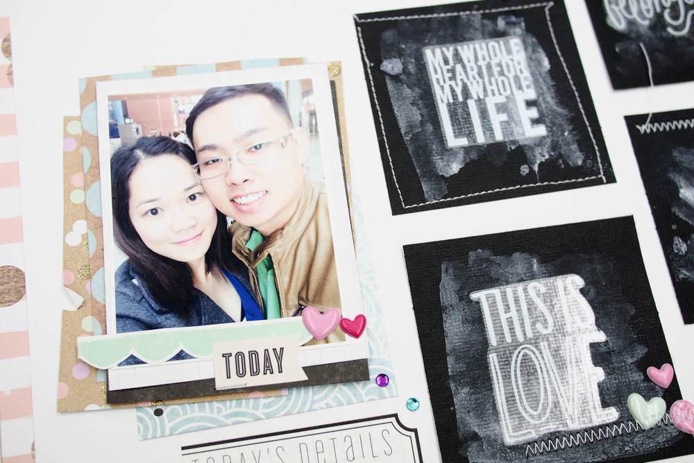 faux chalkboard effect using mambiSTICKS clear stickers in white on top of black paper | me & my BIG ideas